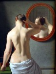 Woman Standing in Front of a Mirror (1841) by Danish painter Christoffer Wilhelm Eckersberg (1783-1853)